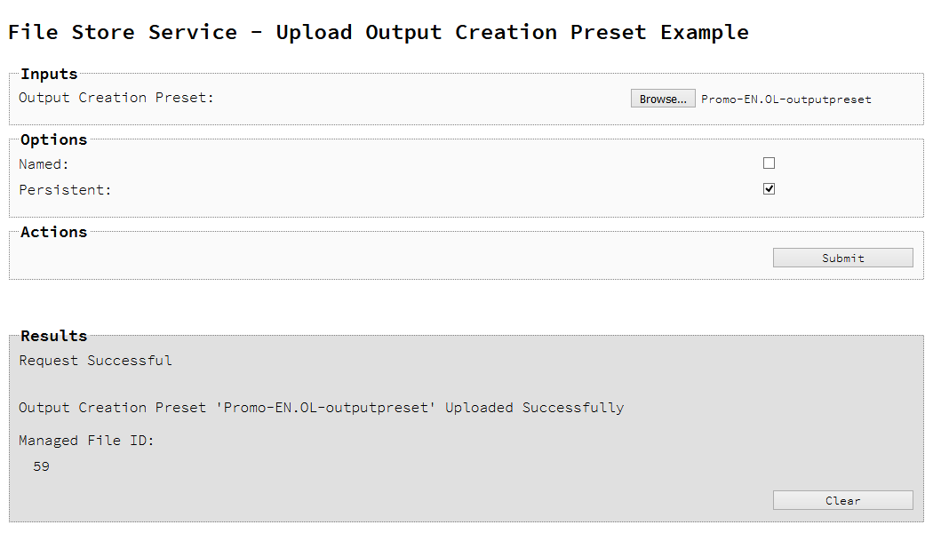 Uploading an Output Creation Preset to the File Store