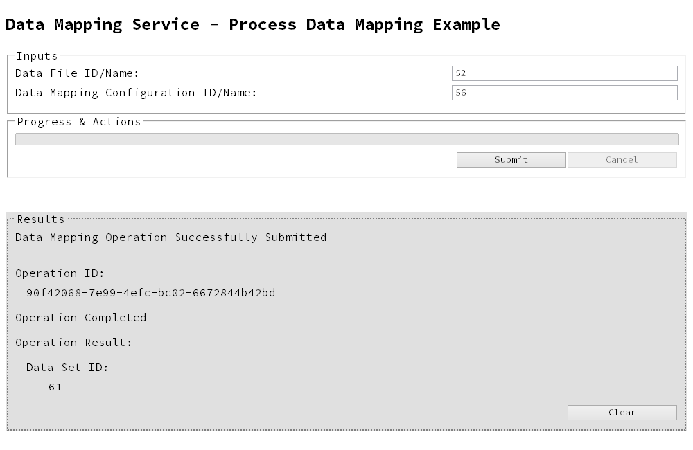 Running a Data Mapping Operation on